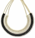 JEST JEWELS Black Leather Gold Bib Necklace