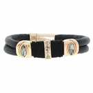 JEST JEWELS Black Leather Rose Gold Crystal Bracelet