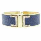 JEST JEWELS Blue Leather Magnetic Metal Cuff Bracelet