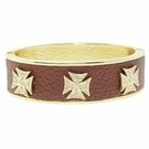 JEST JEWELS Brown Cross Magnetic Metal Cuff Bracelet