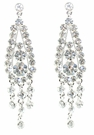 JEST JEWELS Crystal 3 Drop Earrings-Clear