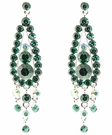 JEST JEWELS Crystal 3 Drop Earrings-Green