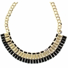 JEST JEWELS Deco Black Gold Fan Necklace