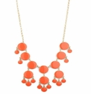 JEST JEWELS Enamel Bubble Drop Necklace Coral