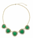 JEST JEWELS Gemstone 5 Triangle Necklace-Green