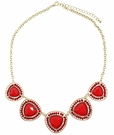 JEST JEWELS Gemstone 5 Triangle Necklace-Red
