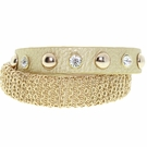 JEST JEWELS Gold Leather Chain Snap Bracelet