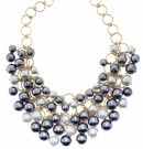 JEST JEWELS Grey Pearl Mix Collar Necklace