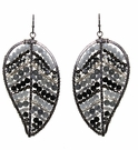 JEST JEWELS Grey Mix Beaded Leaf Earrings