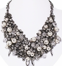 JEST JEWELS Gunmetal Multi Stone Necklace