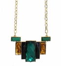 JEST JEWELS Long Deco Crystal Necklace-Green Mix