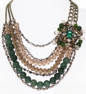 JEST JEWELS Multi Row Green & Topaz Collar Necklace