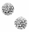 JEST JEWELS Pave Ball Studs-Clear