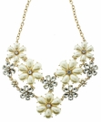 JEST JEWELS Pearl & Crystal Flower Statement Necklace