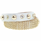 JEST JEWELS Silver Leather Chain Snap Bracelet