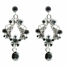 JEST JEWELS Small Open Crystal Drop Earrings-Black