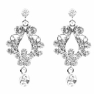 JEST JEWELS Small Open Crystal Drop Earrings-Clear