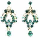 JEST JEWELS Small Open Crystal Drop Earrings-Green