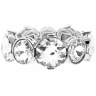 JEST JEWELS Stretch Mixed Round Crystal Bracelet-Silver