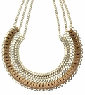 JEST JEWELS Tan Leather Gold Bib Necklace