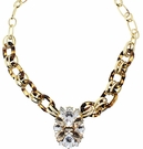 JEST JEWELS Tortoise Chain Crystal Pendant Necklace