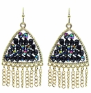 JEST JEWELS Triangle Beaded Chain Earrings-Hematite