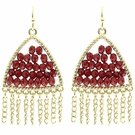 JEST JEWELS Triangle Beaded Chain Earrings-Red