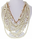 JEST JEWELS Multi Strand Pearl Gold Necklace