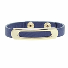 JEST JEWELS Navy Leather Gold Bar Snap Bracelet