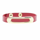 JEST JEWELS Red Leather Gold Bar Snap Bracelet