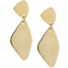 ROBERT LEE MORRIS Gold-Tone Hammered Geometric Double Drop Earrings