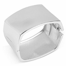 ROBERT LEE MORRIS Silver-Tone Sculptural Square Hinged Bangle Bracelet