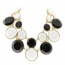 JEST JEWELS Round Black & White Enamel Collars Necklace