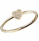 SYDNEY EVAN Pave Diamond Baby Heart Yellow Gold Ring