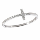 SYDNEY EVAN White Gold & Pave Diamond Bent Cross Ring