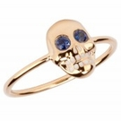 SYDNEY EVAN Yellow Gold & Blue Sapphire Skull Ring