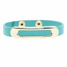JEST JEWELS Teal Leather Gold Bar Snap Bracelet
