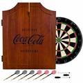 Coca Cola Wood Dart Cabinet Set - Engraved Logo