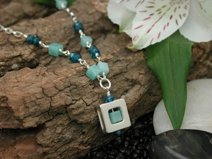 Atomic Square 47 Necklace with Amazonite & Apatite