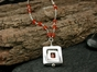 Atomic Supersquare Necklace with Carnelian
