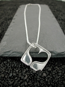 Big Open Heart on Sterling Dog Tag Chain