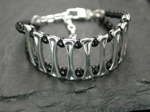 Bone Ladder Bracelet with Black Onyx