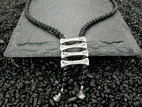 Bone Ladder Necklace with Black Onyx