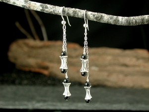 Corset Double Drop Earrings<BR>with Black Onyx