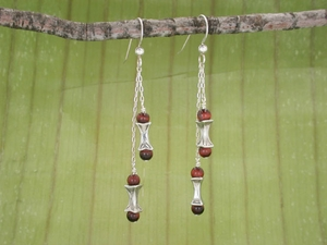 Corset Double Drop Earrings<BR>with Red Tiger Eye
