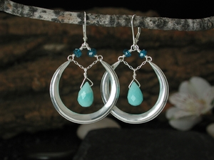 Crescent Moondrop Earrings with Amazonite & Apatite