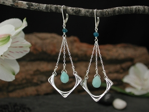 Luna Drop Earrings with Amazonite & Apatite