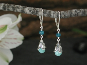 Moon Flower Earrings with Amazonite & Apatite