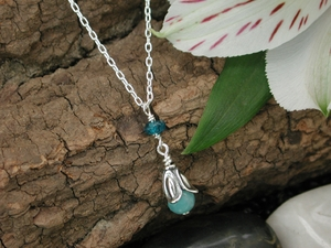 Moon Flower Necklace with Amazonite & Apatite