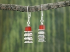 Pillar Stack Earrings<BR>with Carnelian